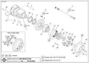 Станица каталога запчастей Spicer для Bomag. На деталировке изображены ступица, бортовая Бомаг. полуось, чулок и солнечная шестерня Bomag
